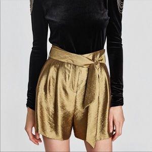 NWT Zara Gold Shorts - XS